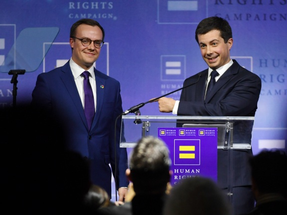 Democratic Presidential Candidate Pete Buttigieg Gives Keynote Address At Human Rights Campaign's Gala In Vegas