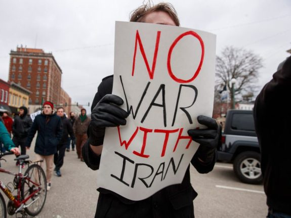 No Iran War protest in Bloomington, US