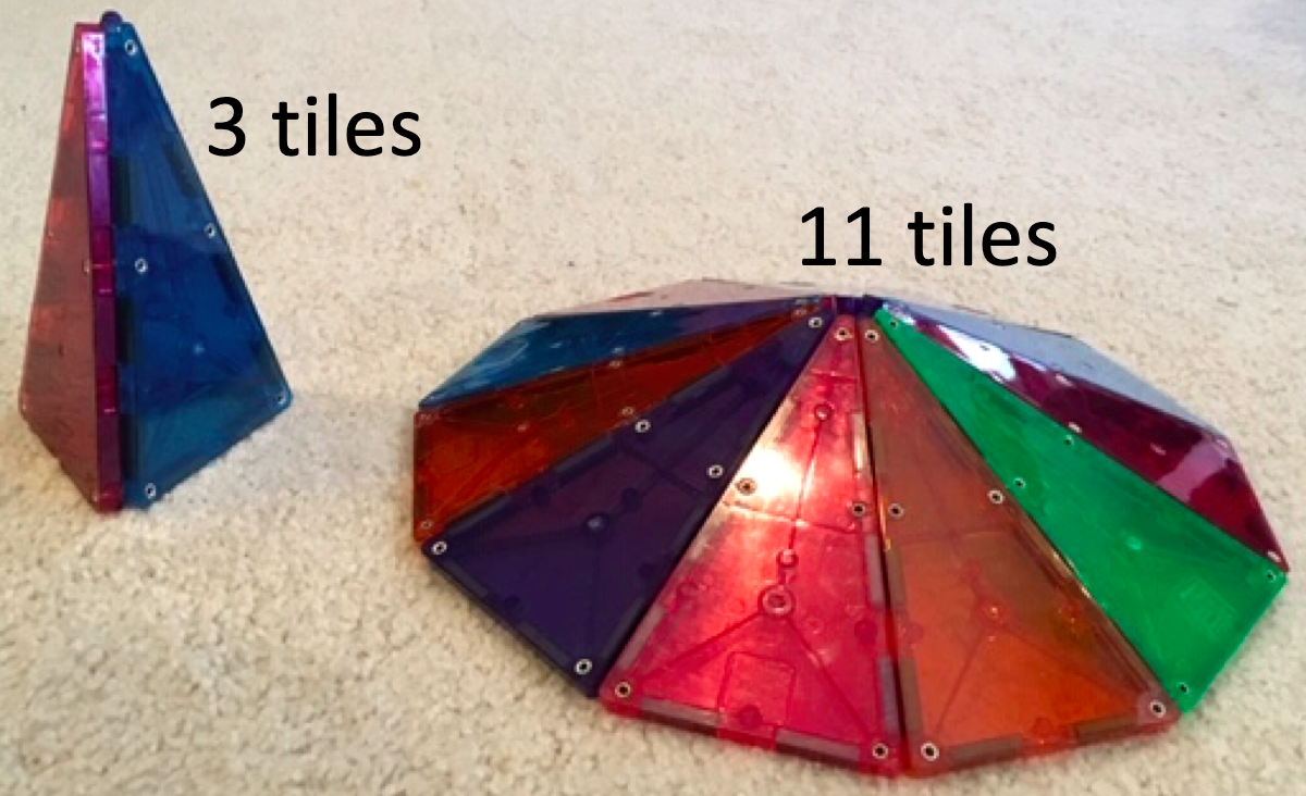 3 magnatiles arranged into a tall pyramid, and 11 magnatiles arranged into a short pyramid.