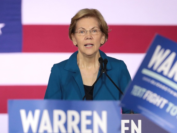 Presidential Candidate Elizabeth Warren Holds Primary Night Event In Manchester