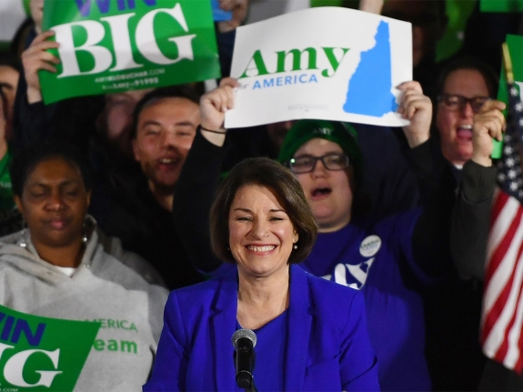 Democratic U.S. presidential candidate Senator Amy Klobuchar speaks at her New Hampshire primary night rally in Concord, N.H., U.S.