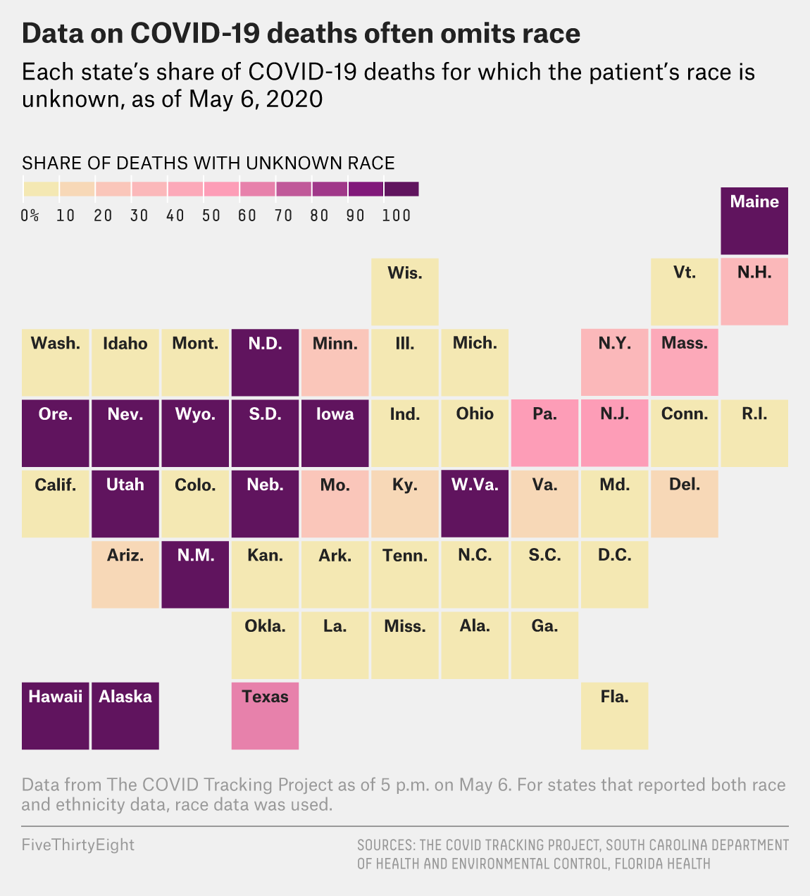 Many States Are Reporting Race Data For Only Some Covid 19 Cases And Deaths Fivethirtyeight