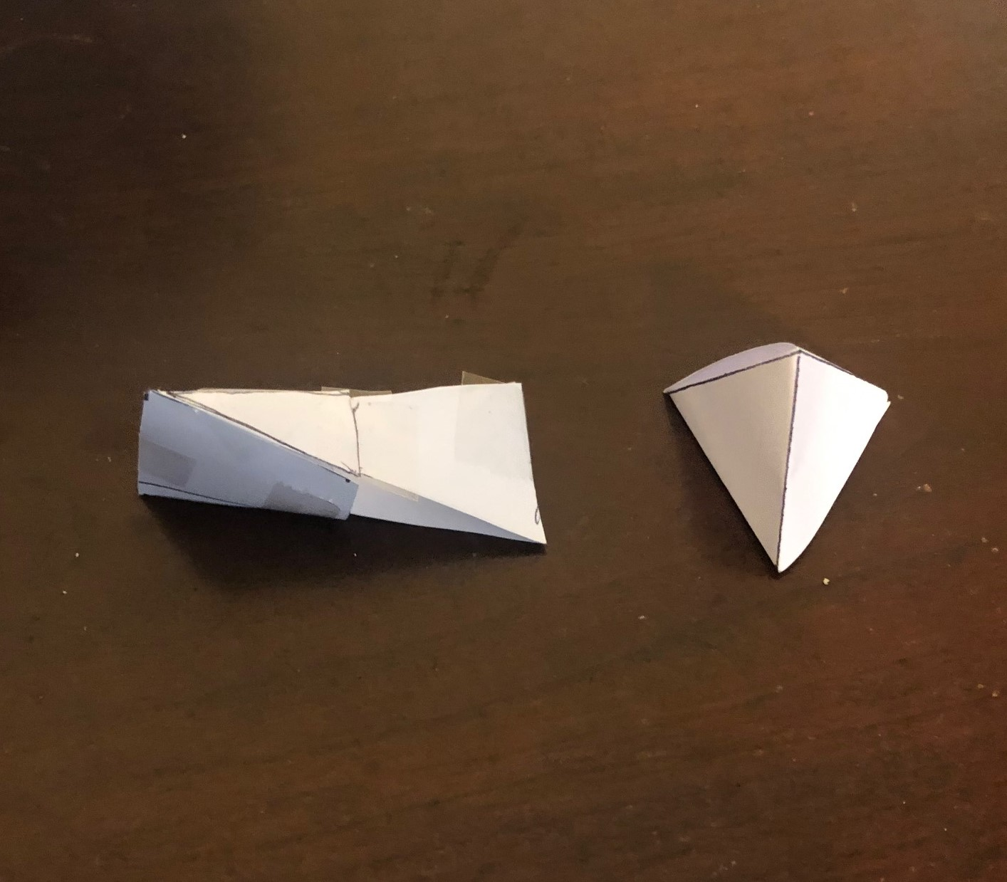 paper models of tetrahedra