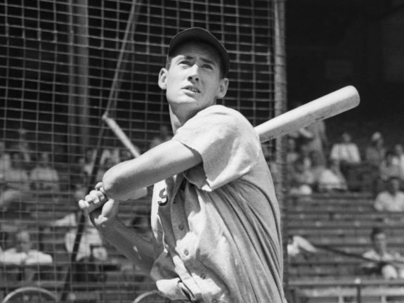 Ted Williams Is Shown Swinging Bat