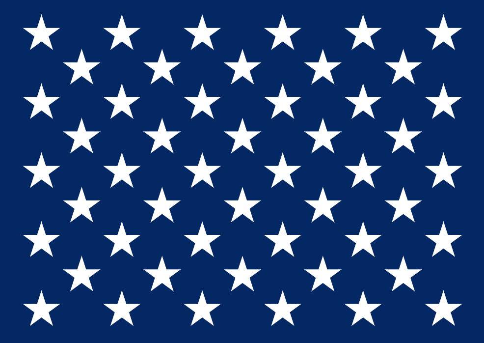 Stars on the US flag, arranged to form two overlapping rectangles