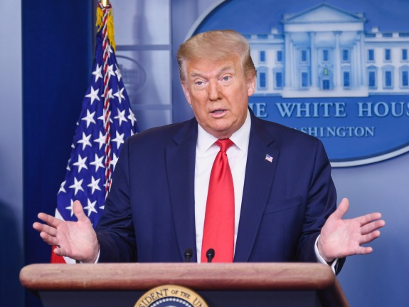 President Donald Trump delivers remarks at a press briefing about the economy and jobs numbers.