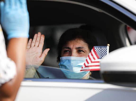Drive-In Naturalization Ceremony Held In Southern California