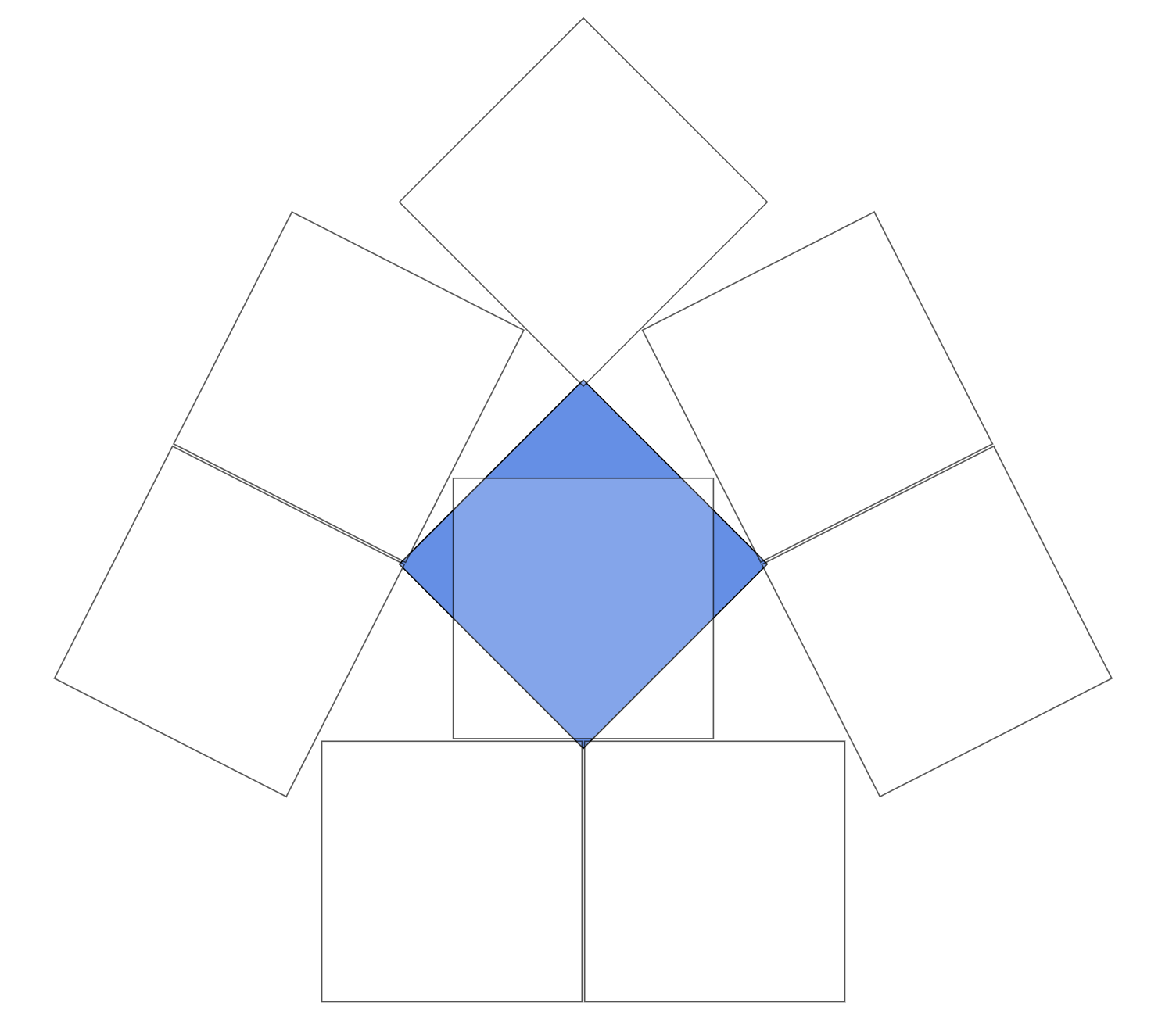 arrangement of eight white squares so they all overlap a blue square but not each other