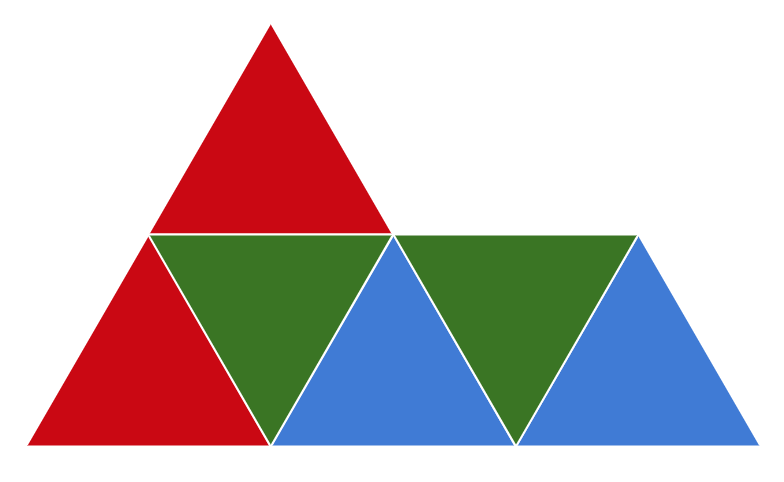 "A ""sphinx"" shape split into three congruent parts that make up 100 percent of the sphinx."