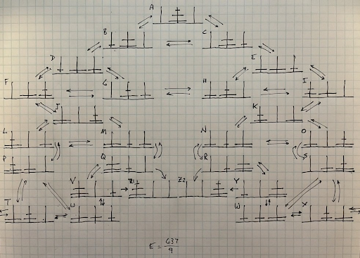 State diagram for 3-ring Lucas' tower. Transitions between states are also indicated.