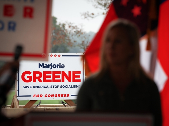 Sen. Kelly Loeffler (R-GA) And House Candidate Marjorie Taylor Greene (R-GA) Hold Campaign Event In Dallas, Georgia
