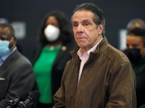 New York Governor Andrew Cuomo visits vaccination site in Brooklyn
