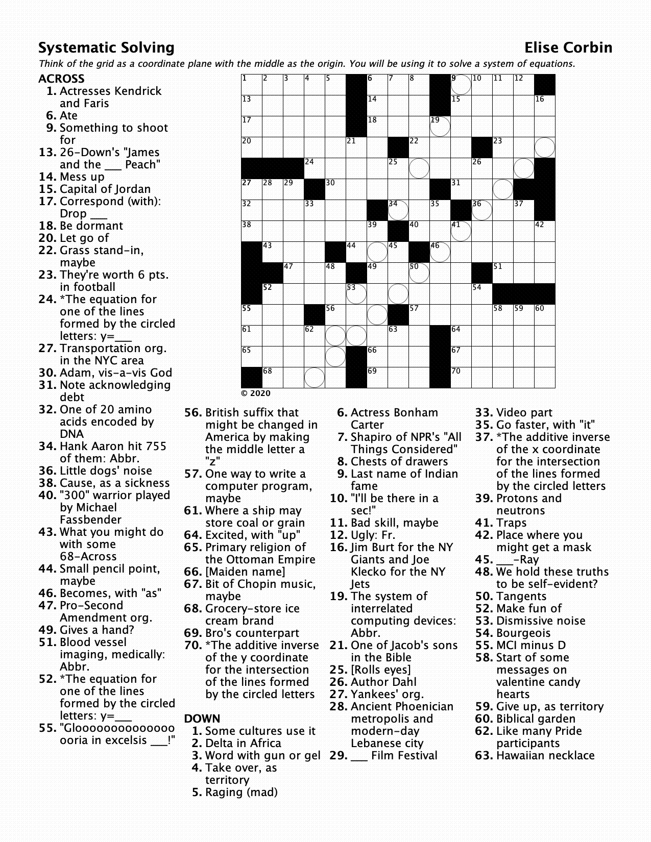 "A crossword puzzle entitled ""Systemic Solving"""