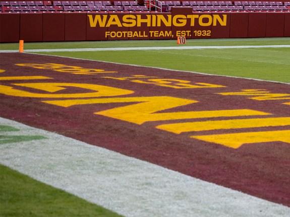 A general view of the Washington Football Team logo on the stadium.