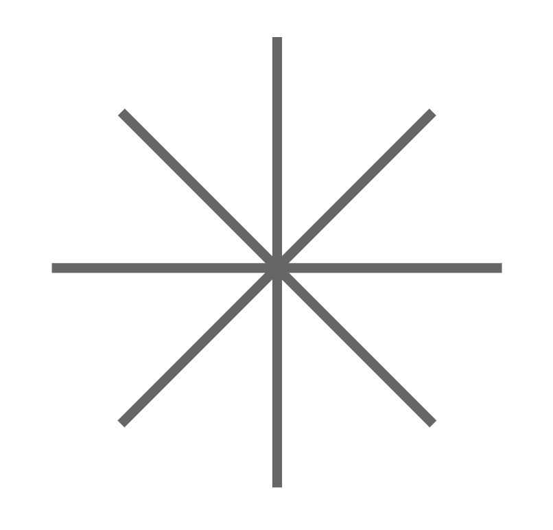 Eight roads that all converge radially at a single point of intersection.