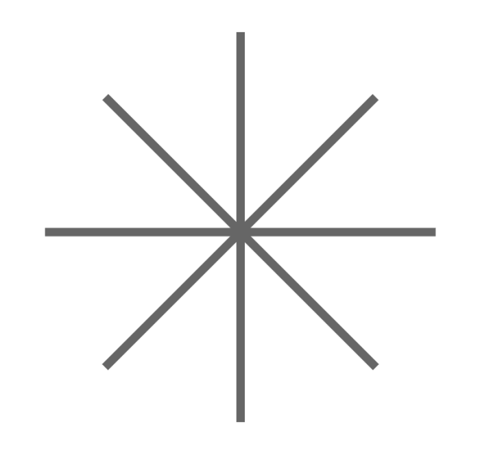 Eight roads intersecting at a single point.