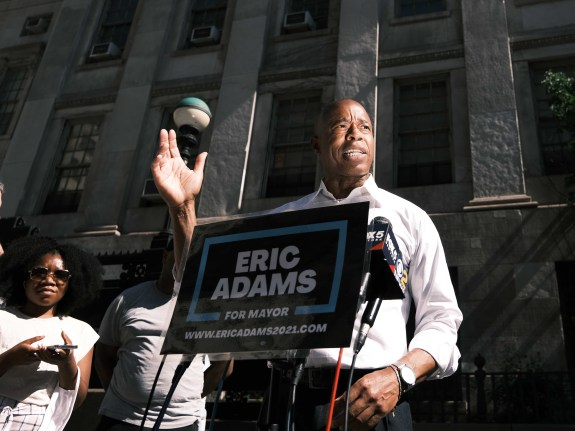 New York City Mayoral Candidate Eric Adams Holds Media Availability In Brooklyn