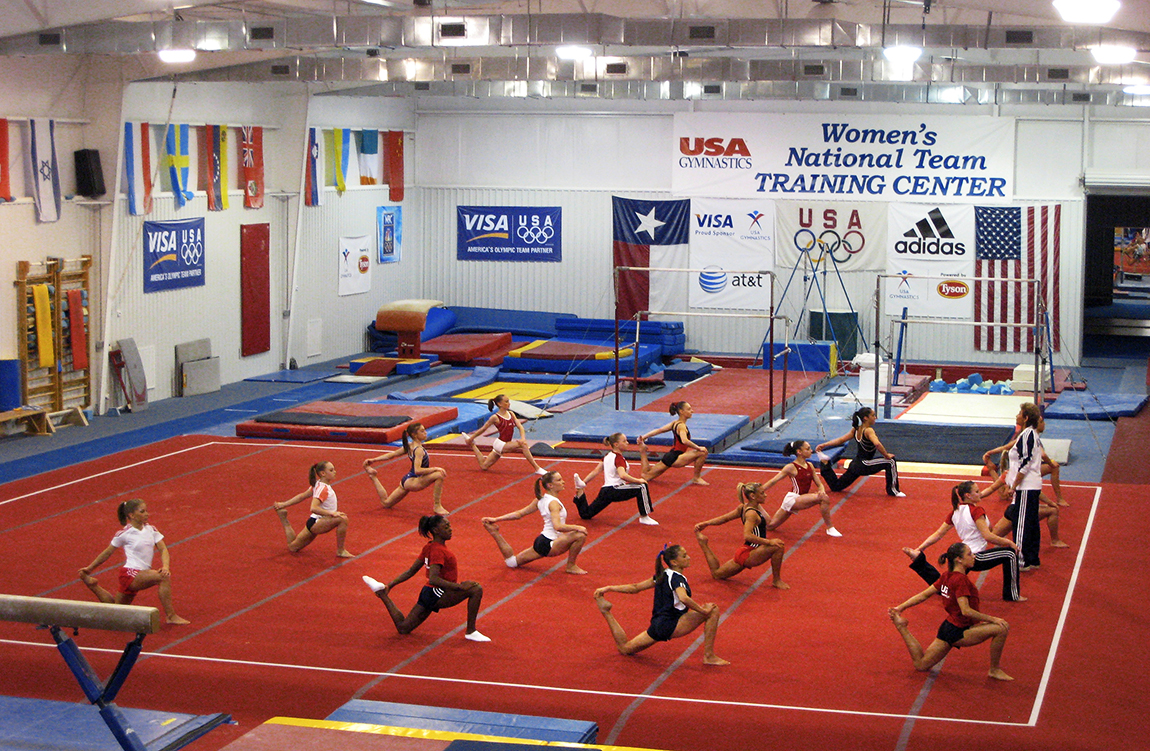 Athletes warming up in 2008 at the USA Gymnastics Women's National Team Training Center
