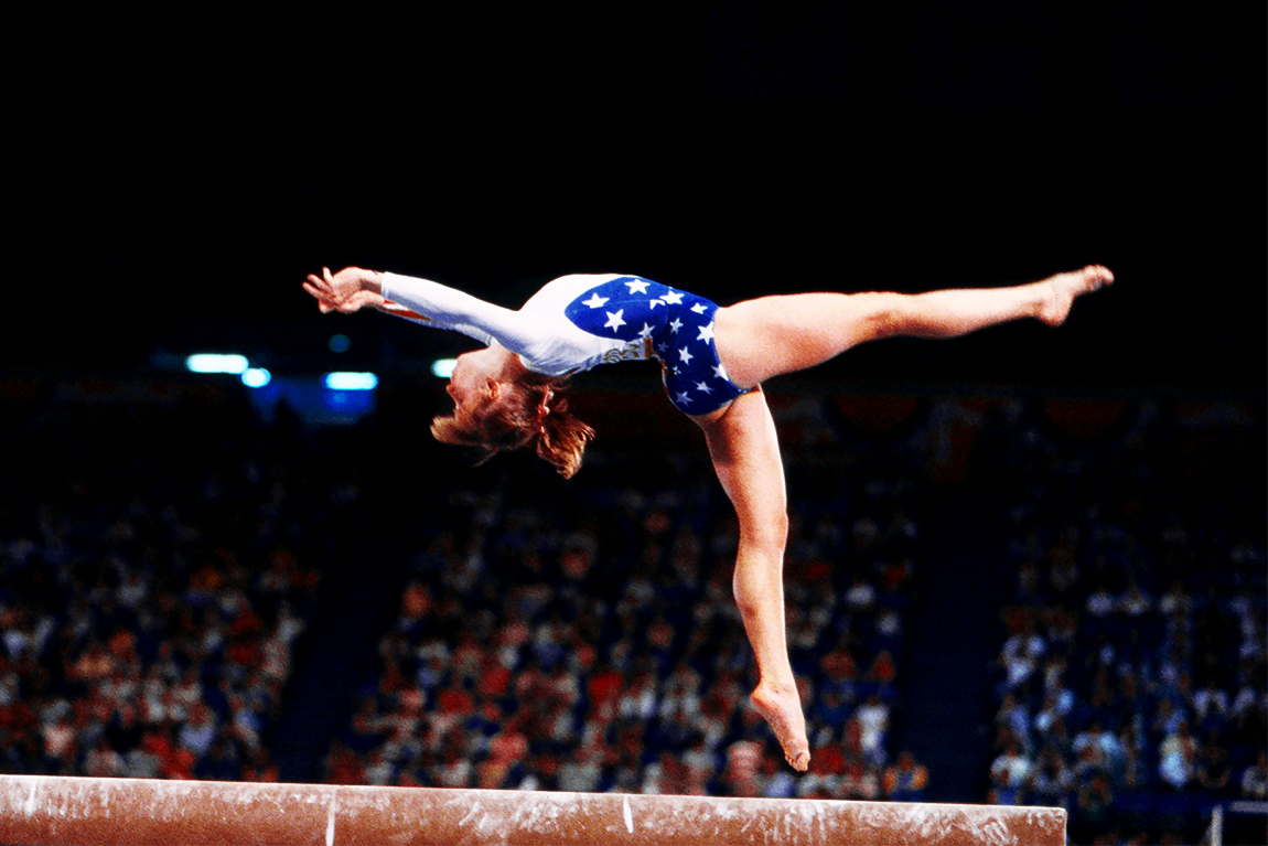 American gymnast Kathy Johnson on balance beam at the 1984 Summer Olympics.