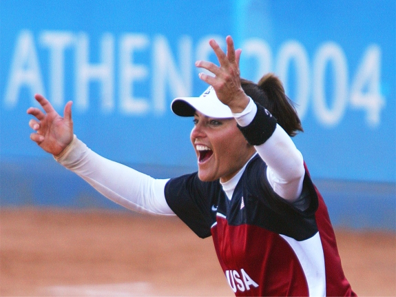 Fernandez of the US celebrateS Olympic gold medal softball victory over Australia in Athens.