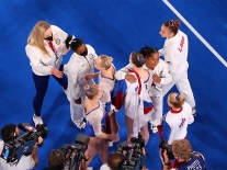 Members of the United States Women's Artistic Gymnastics Team Congratulate Members of the Russian Olympic Committee Women's Artistic Gymnastics Team