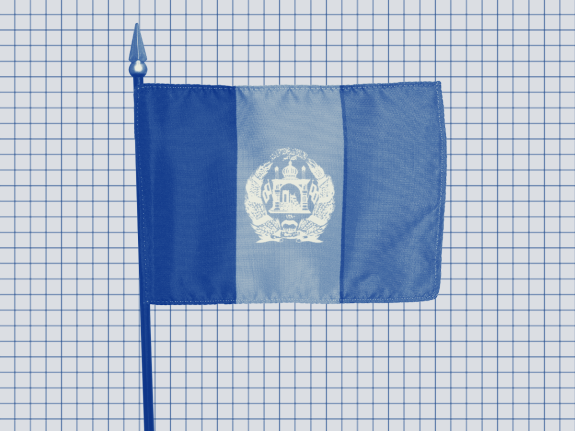 A photo illustration of the Afghanistan flag on a gridded background