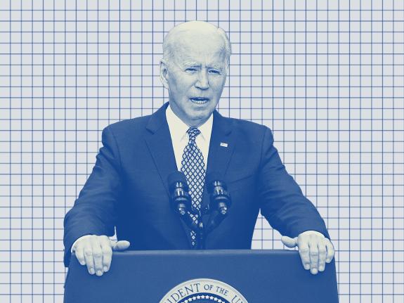 A photo illustration of President Joe Biden on a gridded background