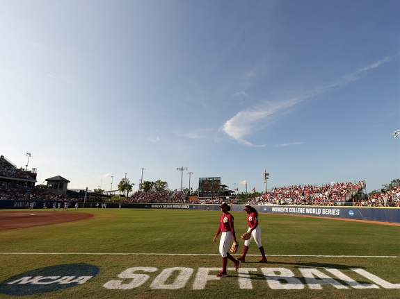 A view of the field before the Division I Womens Softball Championship