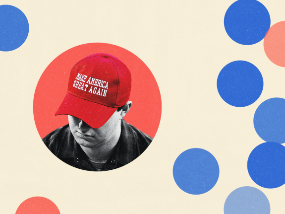 A photo illustration of a young man wearing a Make America Great Again hat