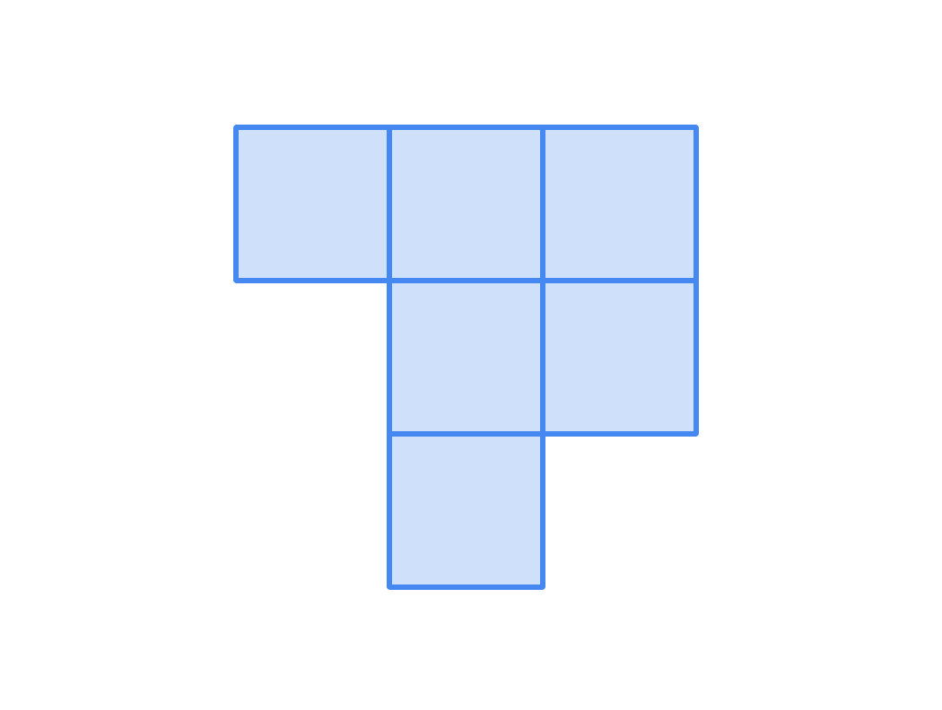 Six squares arranged to form a hexomino. Four of them form a two by two square. There is another square to the left of the top-left square, and another one below the bottom-left square.