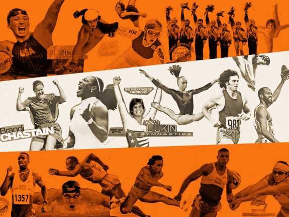 A photo illustration of various Olympic athlete Wheaties covers