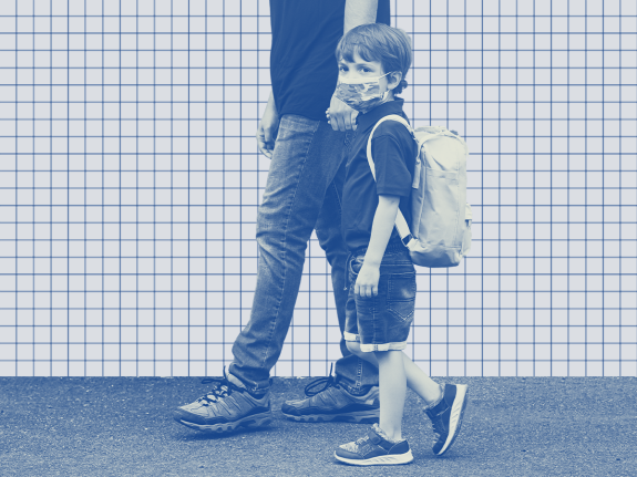 A photo illustration of an elementary school student wearing a mask on a gridded background