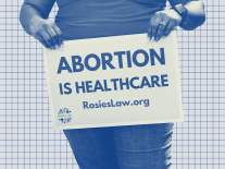 """A photo illustration of a woman holding a sign that reads """"Abortion is Healthcare"""", against a gridded background"""