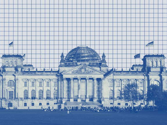 A photo illustration of the German Parliament building in front of a gridded background
