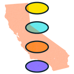 A illustration fo the map of California, overlaid by four differently colored ovals