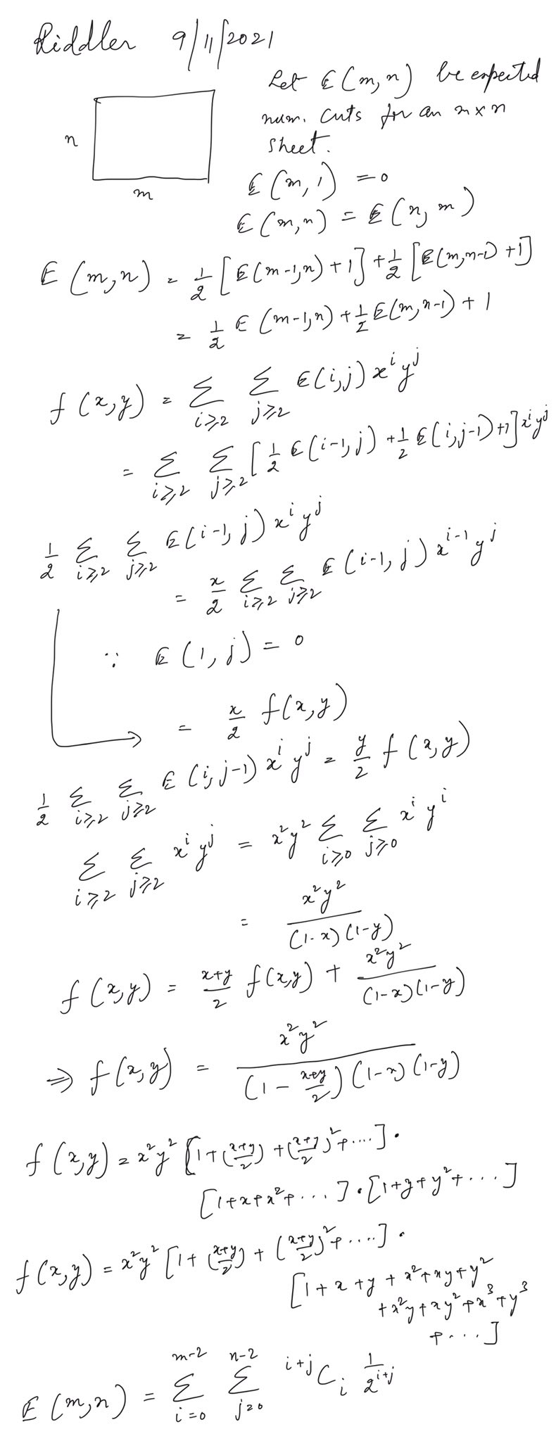 Derivation of a closed-form expression for E(m,n) using generating functions. E(m,n) is the sum from i = 0 to m-2 of the sum from j = 0 to n-2 of (i+j) choose i divided by 2^(i+j).