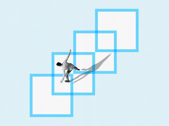 A photo illustration of a person standing across several overlapping boxes