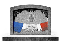 A photo illustration of two shaking hands on a tombstone