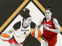 A photo illustration of Las Vegas Aces teammates Dearica Hamby and Kelsey Plum