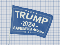 A photo illustration of a Trump 2024 flag against a gridded background