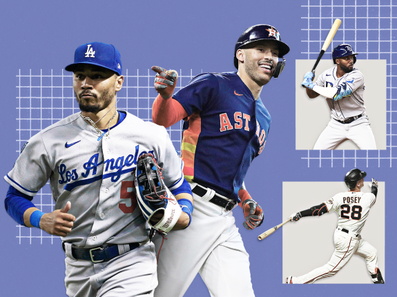 A photo illustration of Mookie Betts, Carlos Correa, Randy Arozarena, and Buster Posey