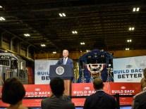 U.S. President Joe Biden speaks at the NJ Transit Meadowlands Maintenance Complex