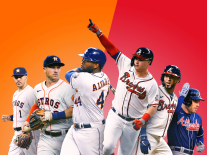 A photo illustration of Houston Astros and Atlanta Braves players